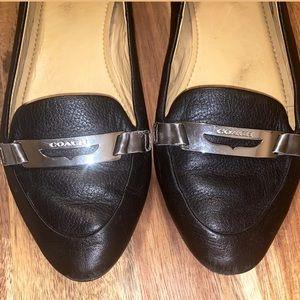 COACH Ruthie Pebble Black Leather Flats
